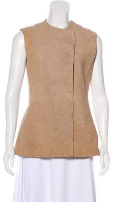 The Row Leather Open Front Vest