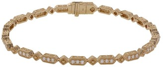 "Judith Ripka 14K Gold 7-1/4"" Diamond Oval LinkBracelet"