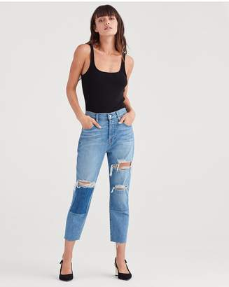 7 For All Mankind High Waist Josefina With Destroy And Patches And Cut Off Hem In Satellite Sky