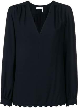Chloé scallop trim blouse