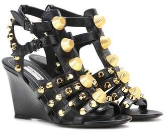 Balenciaga Arena leather wedge sandals