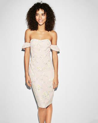 Express Floral Off The Shoulder Sheath Midi Dress