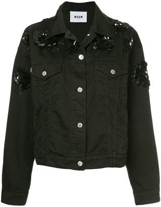 MSGM sequinned flower denim jacket