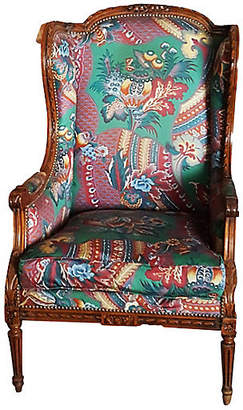 One Kings Lane Vintage French Walnut Wingback Chair - Thomas Brillet Inc.