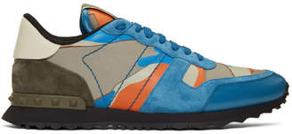 Valentino Blue and Orange Garavani Camo Rockrunner Sneakers