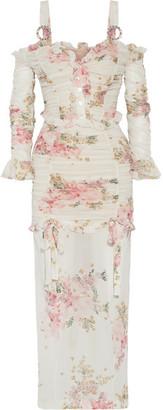 Alessandra Rich - Ruched Floral-print Stretch-silk Maxi Dress - White