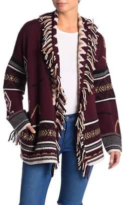 360 Cashmere Vivian Fringe Longline Wool Blend Cardigan