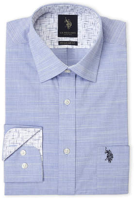 U.S. Polo Assn. Blue Horizontal Textured Regular Fit Dress Shirt