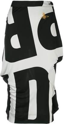 Vivienne Westwood Pre-Owned logo print midi skirt