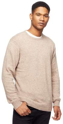 The Collection - Natural Lambswool-Blend Crew Neck Jumper