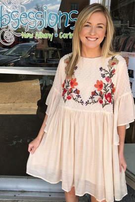 Umgee USA Creme Embroidered Dress