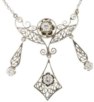 14K White Gold with 0.30ct Diamond 4 Section Filigree Dangle Vintage Pendant Necklace