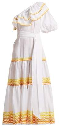 Lisa Marie Fernandez Arden One Shoulder Ric Rac Trim Dress - Womens - White Multi