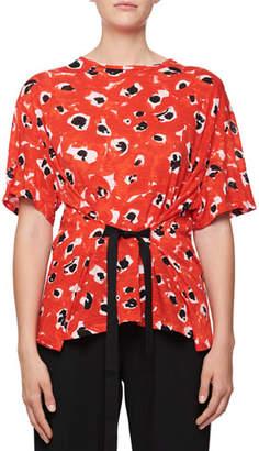 Proenza Schouler Crewneck Short-Sleeve Tie-Waist Printed T-Shirt