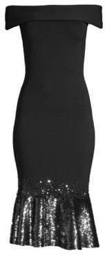 Sachin + Babi Falisia Knit Sequin Flounce Sheath Dress