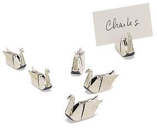 Silver Origami Crane Placecard Holders