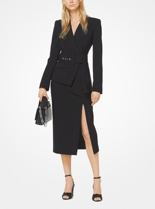 Michael Kors Stretch Pebble-Crepe Slashed Pencil Skirt