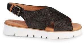 Gentle Souls Prisca Cross Band Leather Platform Walking Sandals