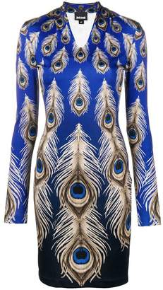 Just Cavalli peacock feather fitted dress