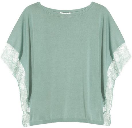 Valentino Lace-trimmed knitted silk-blend top