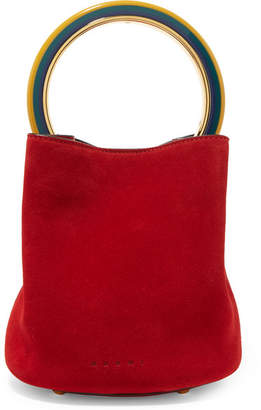 Marni Pannier Small Suede Bucket Bag - Red