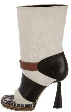 Balenciaga Balenciaga Leather Peep-Toe Ankle Boots