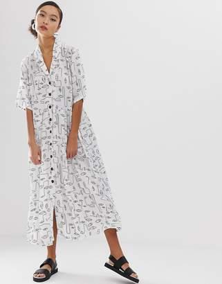 d0099b08ace2 Monki daisy and dot print midi shirt dress with pockets in black
