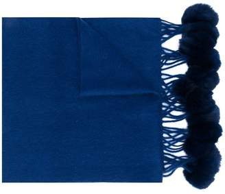 N.Peal fur bobble woven scarf