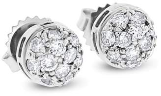 14k White Gold 0.66 Ct. Natural Diamond Dome Ball Stud Earrings