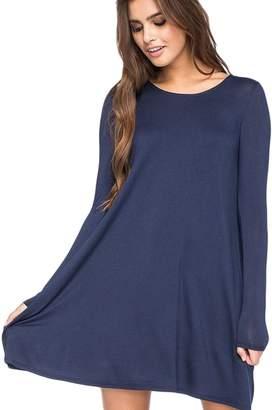 Vemubapis Women Casual Long Sleeve Plus Size A Line Tunic Shirts Monocolor Autumn Flare Dress XXL