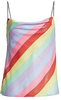 Olivia Rubin Women's Sequin Rainbow Cowl Top