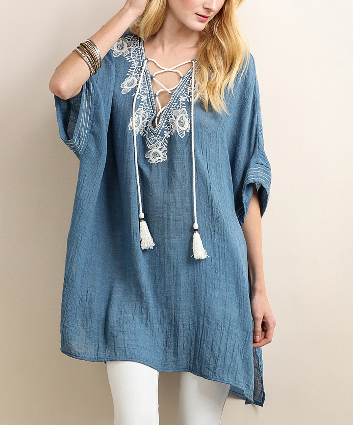 Denim Embroidered Lace-Up Tunic