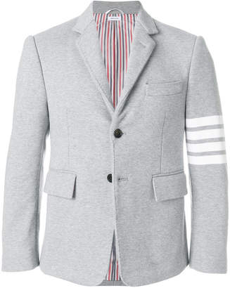 Thom Browne 4-bar stripe classic jersey sport jacket light grey