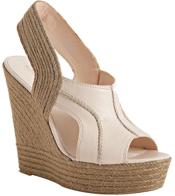 Boutique 9 light natural leather 'Ildred' platform wedge espadrilles