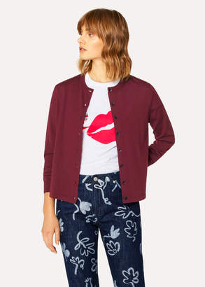 Paul Smith Women's Burgundy 'Still Life Bouquet' Wool-Silk Cardigan