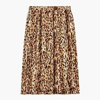 J.Crew Pleated leopard midi skirt
