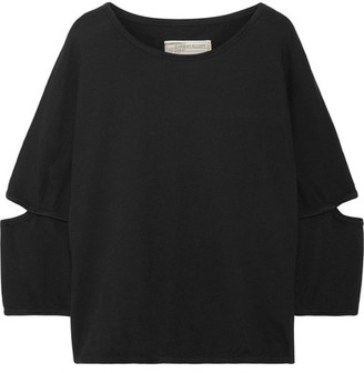 Current/Elliott - The Easy Cutout French Cotton-terry Top - Black $150 thestylecure.com