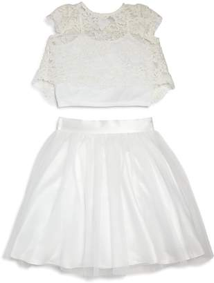 Us Angels Girls' Lace Top & Skirt Set - Little Kid