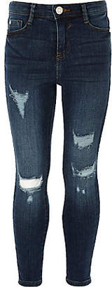 River Island Girls blue Amelie ripped skinny jeggings