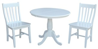 """INC International Concepts 36"""" Round Extension Dining Table With 2 Cafe Chairs - 3 Piece Set - White"""