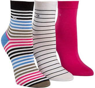 Calvin Klein Womens Three-Pack Striped Crew Socks