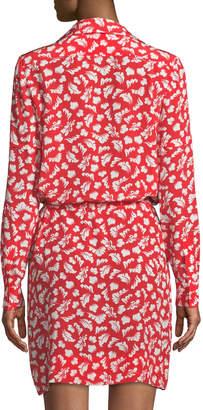 Diane von Furstenberg Taya Tie-Waist Leaf-Print Georgette Shirtdress
