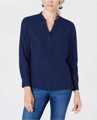 Style&Co. Style & Co Split-Neck Denim Top, Created for Macy's