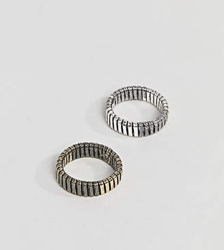 Reclaimed Vintage inspired ring pack with emboss in mixed metals exclusive at ASOS