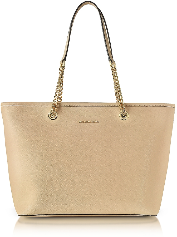 MICHAEL Michael Kors Michael Kors Oyster Saffiano Leather Jet Set Travel Chain T/Zip Multifunction Tote