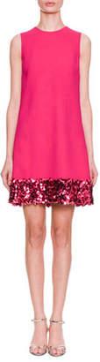Dolce & Gabbana Sleeveless A-Line Cady Wool Dress w/ Paillette Hem