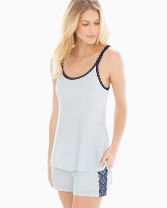 Cool Nights Lace Trim Swing Pajama Cami Zen Stripe Pale Blue