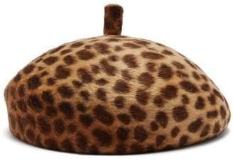 Lola Hats - Frenchy Leopard Print Felt Beret - Womens - Brown