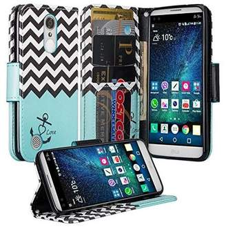 LG Electronics Coverlab K4 (2017)   Fortune   Phoenix 3 Case, Wrist Strap Magnetic Fold[Kickstand] Pu Leather Wallet Case with ID & Credit Card Slots - Teal Anchor