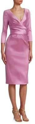 Theia Draped V-Neck Dress